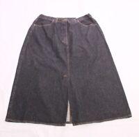 CT97 Jeans-Rock Gr. 44 schwarz wadenlang midi high waist A-Linie ungetragen
