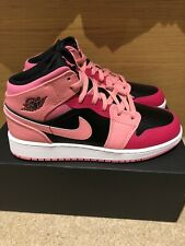 Nike Air Jordan 1 Mid 'Coral Chalk Rush Pink' GS   Pink/Black   UK 5 Brand New