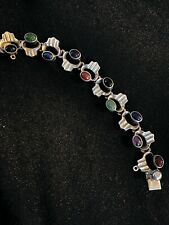 Multi Stones Decoration From 1980Th Vintage Sterling Silver Bracelet From Mexico