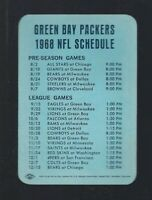VINTAGE 1968 NFL GREEN BAY PACKERS FOOTBALL POCKET SCHEDULE - LAMBEAU FIELD