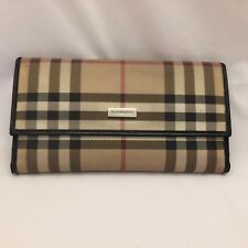 Authentic Burberry Plaid Wallet Checkbook, Black Leather Trim  - Quick Ship!