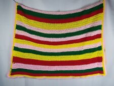"Lovely Hand Made Crochet Afghan Blanket Throw 48""x 38"" Multicolor"