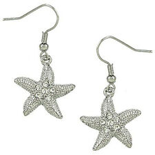 Starfish Fashionable Earrings - Fish Hook - Sparkling Crystal - Rhodium Plated