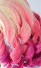 WIG 3 color Ombre - Cream Pink Magenta OOAK Designer Wig for American Girl Doll