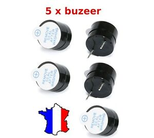 5 x Buzzer actif 5V - Son continu - Bip - Arduino, Raspberry, Alarme, drone