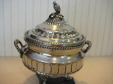 """RARE ANTIQUE SILVER ON BRASS FOOTED INCENSE BURNER WITH LID, 8"""" TALL X 6 3/4"""" W"""