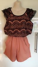 Pink Coral Lace Trim Play suit with pockets Size S.