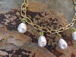 14 KT Yellow Gold Peridot & Paspaley South Sea Pearl Charm Bracelet Dangle NEW