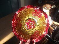 Vintage Goofus Glass Bowl Gold and Red Floral Design