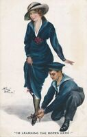 Arthur Butcher Signed I'm Learning The Ropes Here Postcard - 1916