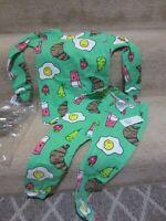 NWT Baby Gap Girl's Green Pajamas 18 24 Breakfast Food Eggs Fruit