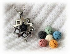 Small Sunburst Aromatherapy Essential Oil Necklace Diffuser with 6 lava stones!