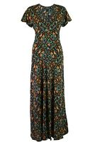 Womens Ladies Yessica Black Floral Mix Fit and Flare Cap Sleeve Midi Dress