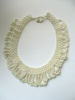 Vintage Bib Collar Faux Pearl Vintage Necklace FREE SHIP signed hong kong