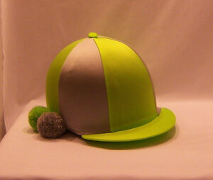 RIDING HAT COVER - FLUORESCENT LIME & SILVER GREY