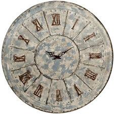 "Antiqued LARGE Metal Tin Clock D29.5"" - 31384"