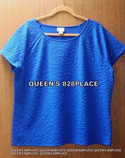 Jacklyn Smith Women's Size XXL Blue Stretch Blouse Top Textured Shirt  2XL New