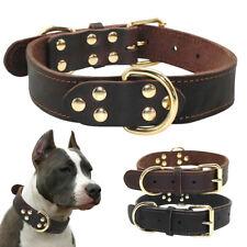 Brown Black Genuine Leather Dog Collar Large Adjustable German Shepherd Bulldog