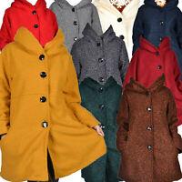 Winter Wolle Boucle Wollemantel Mantel Kapuze 48 50 52 54 56 58  L XL XXL MAXI