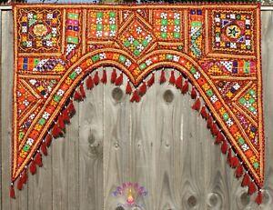 Indian Handicraft Door Window Topper Valance Toran Wall Hanging Arch Boho Hippie