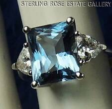 10mm BLUE SPINEL C Z Diamonique Sterling Silver 0.925 ENGAGEMENT RING size 6