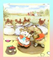 ❤️Wee Forest Folk Do-si-do MMO-2 1999 Orange Beige Mouse Mole Square Dance❤️