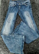 Almost Famous Low Rise Boot Distressed Stretch Denim Blue Jeans size 7