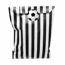 BLACK & WHITE PAPER Party Bags con 30 mm CALCIO PARTY ADESIVI - 24 di ciascun
