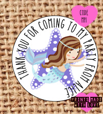 Personalised mermaid party bag stickers , sweet cone labels , birthday MPI