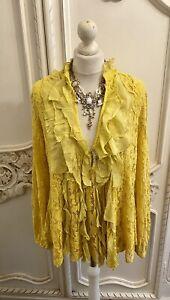 Boutique Mustard Lace Boho Cotton Frill Boho Blouse 14 Victoriana Vintage Style