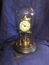 Jahresuhr Scheibenpendel Messing Antik Tischuhr mechanisch 400 Day Drehpendeluhr