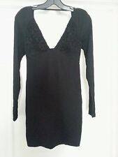 NWT bebe black lace inset deep v neck long sleeve bodycon top dress S Small 4