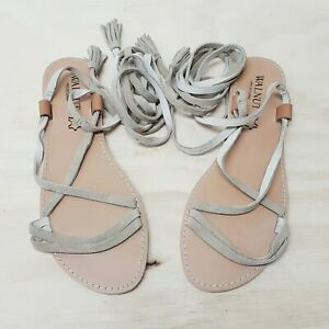 WALNUT Womens Size EUR 42 Taupe Suede Leather Tie Up Sandals NEW RRP$99.95