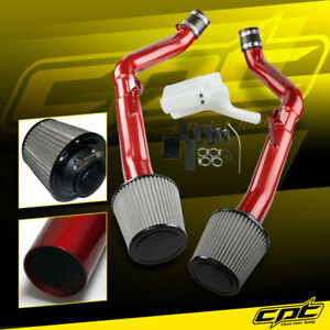 For 08-13 G37 2dr/4dr 3.7L V6 Red Cold Air Intake + Stainless Steel Air Filter