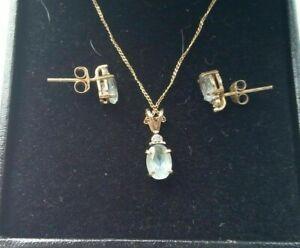 9ct Gold Blue Topaz & Diamonds Pendant Necklace &Stud Earrings (Set)