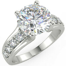 Diamond Engagement Ring 14K White Gold 3.06 Ct Round Cut Vs1/F Solitaire Pave