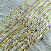 "10K Yellow Gold Cuban Curb Chain Necklace 16""- 30"" Link Chain 2.5mm-7mm"