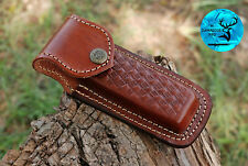 """Hand Made Pure Cow Leather Sheath For 5"""" Folding Knife & Other Tols - Aj 1362"""