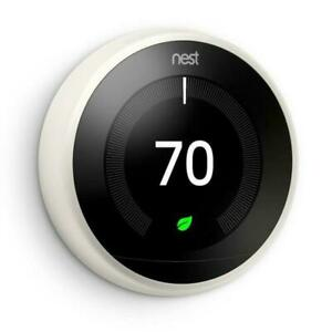 Google Nest Learning Smart Thermostat 3rd Generation White T3017US New