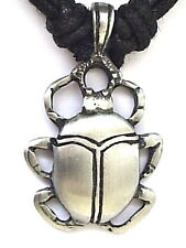 EGYPTIAN SCARAB BEETLE PEWTER PENDANT MENS BOYS WOMENS GIRLS NECKLACE   P0097