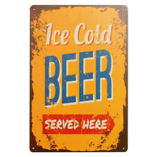 ICE COLD BEER SERVED HERE Pub Tavern Tin Sheet Metal Sign Retro Wall Plaques