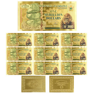 10pcs One Myrillion Dollar 24k Gold Foil Zimbabwe Banknote Birthday Gifts
