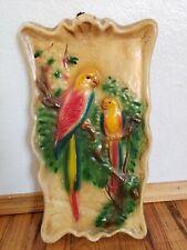 Vintage Mid-Century Parrot Chalkware Plaster Wall hanging - Retro Kitschy