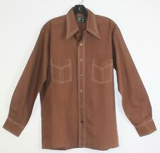 Vintage 60's 70's Jc Penney Brown Polyester Blend Long Sleeve Disco Shirt Size M