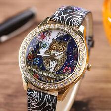 Womens Quartz Stainless Steel Leather Crystal Rhinestone Owl Wrist Watch. AU