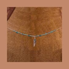 necklace navajo feather turquoise and silver,handcrafted,92.5 sterling silver