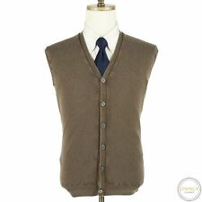 Fedeli Brown Wool Dusty System Rib Knit Washed Piped Italy Sweater Vest L