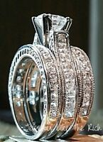 14k White Gold Sterling Silver Princess Diamond cut Wedding Engagement Ring Set