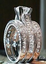 14k White Gold Sterling Silver Princess Diamond cut Wedding Engagement Ring Set