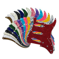 US 3Ply/4Ply Strat SSS Guitar Pickguard 11 Holes Scratch Plate &Screws 17 Colors
